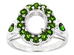 SMI852<br>Gemsavvy Journeys(Tm)10x8mm Oval With 1.47ctw Round & Pear Shape Chrome Diopside Sterling