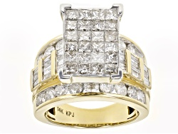JNG071<br>Diamond 4.05ctw Princess Cut & Round & Baguette 14k Yellow Gold Ring