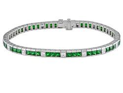 XTP4490<br>Kenyan Tsavorite Garnet 7.05ctw Square Princess Cut With Diamond .64ctw Round 18k Wg Brac