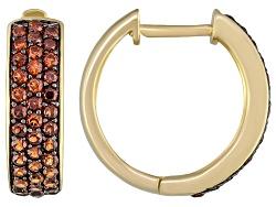 STJ463<br> 1.56ctw Round Vermelho Garnet(Tm) 18k Yellow Gold Over Sterling Silver Hoop Earrings