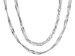 BSC907<br>Sterling Silver Diamond Cut Singapore Link 7.6 Gram Weight  18 Inch & 24 Inch Chain Set Of