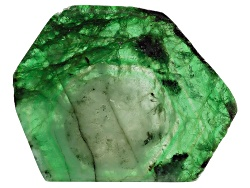 ESL018<br>Brazilian Emerald Min 39.00ct Mm Varies Free Form Polished Slice Shape, Color And Size Wil