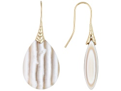 MRA038<br>Artisan Collection Of Madagascar(Tm) Cabochon Banded Chalcedony 18k Gold Over Copper Dangl