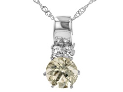 MKH258<br>2.09ct Round Mexican Yellow Labradorite With .31ctw Round White Topaz Silver Pendant With