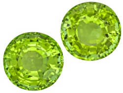 XTP1001<br>Matched Pair Of Burmese Strong Yellowish Green Peridot 15.18ctw 11.72mm Round With Gemwor