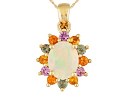 FGE070<br>1.32ct Ethiopian Opal With .92ctw Pink,Yellow, Orange & Green Sapphire 10k Gold Pendant Wi