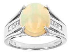 ANH335<br>2.16ct Oval Ethiopian Opal With .24ctw Square White Zircon Sterling Silver Ring