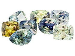 EXK937<br>Madagascan Multi-color Sapphire Set Of Eight 5.42ctw Mm Varies Mixed Shape