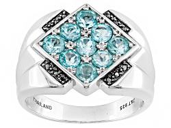 MJW269<br>1.71ctw Round Blue Apatite With .06ctw Round Black Diamond Accent Silver Mens Ring
