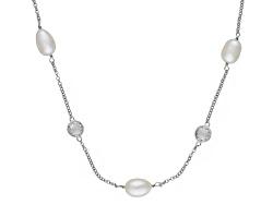 OPA099L<br>8-8.5mm White Cultured Freshwater Pearl & 21.74ctw White Topaz Rhodium Over Silver Statio