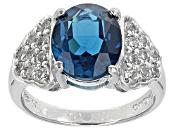 RCH341<br>3.75ct Oval London Blue Topaz With .62ctw White Topaz Sterling Silver Ring