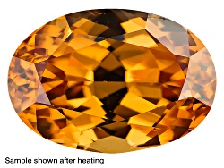 ZNV281<br>Yellow Reserve Zircon Min 1.50ct 8x6mm Oval Color Varies Caution: Heat Sensitive