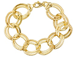 BEC700<br>Moda Al Massimo(Tm) 18k Yellow Gold Over Bronze Double Curb Link 9 Inch Bracelet