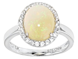 ILH508<br>1.57ct Oval Cabochon Ethiopian Opal With .25ctw Round White Zircon Sterling Silver Ring