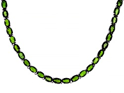 DOCY299<br>39.40ctw Oval Chrome Diopside Sterling Silver Necklace
