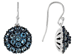 MXH439<br>2.61ctw Round London Blue Topaz Sterling Silver Earrings