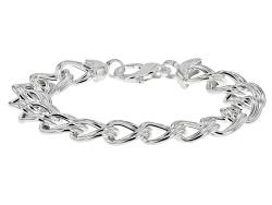 SVR429<br>Sterling Silver Double Curb Link 7 1/2 Inch Bracelet