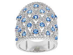BJO095<br>Bella Luce (R) 3.91ctw Blue & White Diamond Simulants Rhodium Over Sterling Silver Ring
