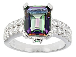 USH148<br>4.20ctw Emerald Cut And Round Mystic(R) Green Topaz With 1.05ctw Round White Zircon Silver