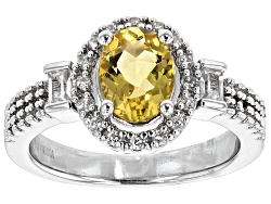 USH258<br>.85ct Oval Yellow Beryl And .47ctw White Zircon Sterling Silver Ring