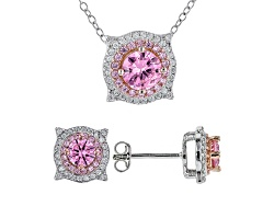 BJO188<br>Bella Luce(R)3.74ctw Pink & White Diamond Simulants Rhodium Over Silver Earrings/ Pendant
