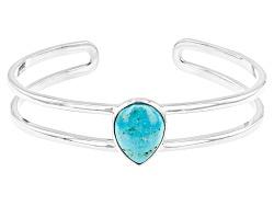 OCH185<br>16x12mm Pear Shape Turquoise Cabochon Sterling Silver Cuff Bracelet