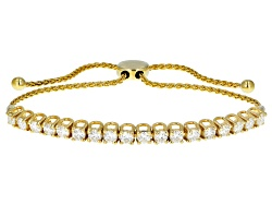 MSN745Y<br>Moissanite Fire(R) 2.88ctw Dew 14k Yellow Gold Over Silver Adjustable Wheat Chain Bracele