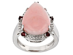 OCH549<br>18x13mm Pear Shape Peruvian Pink Opal, .38ctw Rhodolite Garnet, .21ctw White Zircon Silver