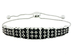 NGH332<br>5.28ctw Round Black Spinel Sterling Silver Sliding Adjustable Bracelet