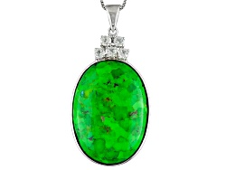 DJH067<br>30x22mm Oval Cabochon Green Turquoise With .75ctw White Topaz Sterling Silver Pendant With