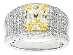 BJO804<br>Bella Luce 5.97ctw Yellow & White Diamond Simulant Rhodium Over Sterling Silver Ring (3.45