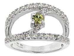 NGH365<br>.25ct Round Demantoid Garnet With .68ctw Round White Zircon Sterling Silver Ring