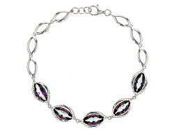 NGH431<br>6.70ctw Marquise Multicolor Quartz And .25ctw Round White Topaz Sterling Silver Bracelet