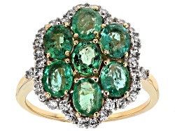 MKA014<br>2.02ctw Oval Zambian Emerald And .52ctw Round White Zircon 10k Yellow Gold Ring