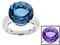 DJH236<br>12.00ct Round Color Change Blue Fluorite Solitaire Sterling Silver Ring