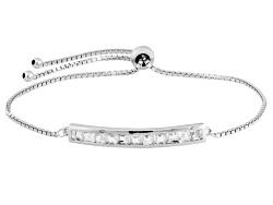 DJH248<br>.16ctw Square White Topaz Sterling Silver Sliding Adjustable Bracelet