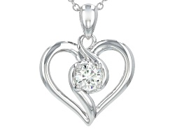 MSN864<br>Moissanite Fire(R) .60ct Diamond Equivalent Weight Round Platineve(Tm) Heart Pendant With