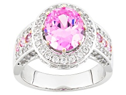 BJO970<br>Bella Luce (R) 6.35ctw Pink And White Diamond Simulants Rhodium Over Silver And Eterno (Tm
