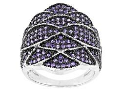 BMC640<br>Bella Luce (R) 1.55ctw Purple Diamond Simulant Black And White Rhodium Over Sterling Silve