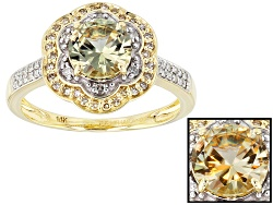 ZUL050<br>1.07ct Round Zultanite(R) With .12ctw Champagne And .10ctw White Diamonds 14k Yellow Gold