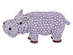 OPJ1106<br>Off Park (R) Collection Multicolor Crystal Silver Tone Hippo Brooch