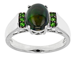 JCH151<br>.80ct Oval Cabochon Black Ethiopian Opal With .09ctw Round Chrome Diopside Silver Ring