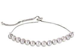Tray #1 - Item #6<br>6mm Gray Cultured Freshwater Pearl Rhodium Over Silver Sliding Adjustable Cente