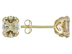 ZUL057<br>1.39ctw Oval Zultanite(R) 14k Yellow Gold Stud Earrings
