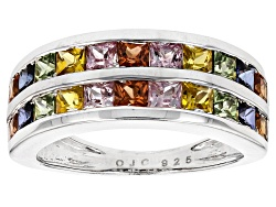 BCH271<br>2.42ctw Square Pink, Orange, Blue, Green And Yellow Sapphire Sterling Silver Band Ring