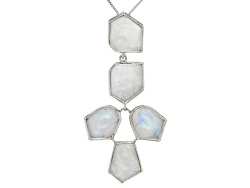 SMH134<br>12x10mm Fancy Cabochon Rainbow Moonstone Sterling Silver Pendant With Chain