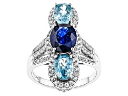 DOCX180<br>2.00ct Mahaleo Sapphire(R) And 3.75ctw Blue And .60ctw White Zircon Sterling Silver 3-sto