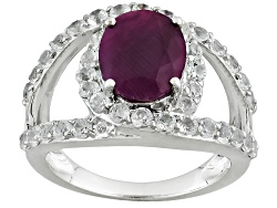 SMH221<br>4.00ct Oval India Ruby With 1.22ctw Round White Topaz Sterling Silver Ring