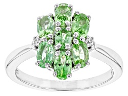 SMH266<br>1.68ctw Oval Mint Tsavorite Garnet With .03ctw White Zircon Sterling Silver Ring