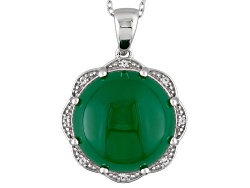 SMH275<br>16mm Round Cabochon Green Onyx And .07ctw Round White Topaz Sterling Silver Pendant With C